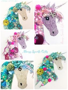 "Unicorn Button Art collage ""Always Sparkle Gifts"" Major Sparkliness ✨ Unicorn Crafts, Unicorn Art, Button Art, Button Crafts, Diy And Crafts, Crafts For Kids, Arts And Crafts, Diy Xmas Gifts, Unicorn Rooms"
