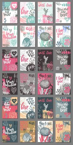 Vector romantic cards collection by Fancy art on Creative Market, Tarjetas Diy, Farewell Gifts, Romantic Cards, Craft Quotes, Printable Planner Stickers, Printables, Scrapbook Stickers, Valentine Day Cards, Valentines