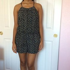 Mossimo Supply Co. Romper Cute and simple one piece floral romper button down. *used* - Buttons below the first 3 sometimes have the tendency to unfasten themselves - Light 100% cotton fabric - Size S Mossimo Supply Co Other