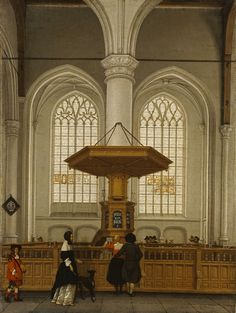 Interior of the Laurenskerk at Rotterdam, 1662, Anthonie De Lorme, painter; with figures attributed to Ludolf de Jongh. J. Paul Getty Museum.