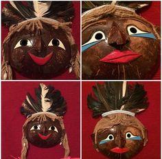 Rare Coconut Mask Set Boy Girl Faces Mardi Gras Home Decor