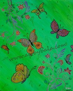 "Butterfly Garden, 2012. 16"" x 20"", Henna style textured acrylic animal painting on canvas. © Bala Thiagarajan, 2012. www.artbybala.com."