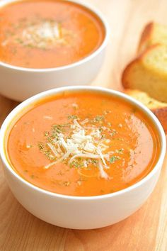 Tomato Recipes This tomato basil soup is one of my all time favourite recipes. It's easy to… - This tomato basil soup is one of my all time favourite recipes. It's easy to make and always tastes AMAZING! It's the perfect soup recipe for summer! The Best Tomato Basil Soup Recipe, Fresh Tomato Recipes, Easy Tomato Basil Soup, Vitamix Tomato Soup, Tomato Basil Soup Crockpot, Panera Tomato Soup Recipe, Garden Tomato Recipes, Quick Tomato Soup, Kitchen