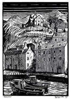 """Gamrie Kirk 2012"" Original lino prints by Scottish Artist Bryan Angus"