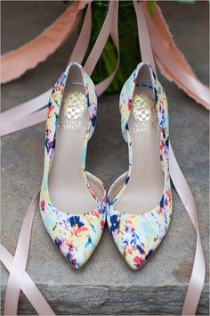 Add a splash of color to your bridal look with these colorful pointy toe heels from Vince Comuto. If you want more colorful wedding ideas then check out the summer blossoms wedding here for more inspiration. PC: Colby Elizabeth & Sarah Hill