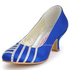 Wedding Shoes Royal Blue,Ivory Almond Toe Rhinestone Low Heel Satin Evenng Party Prom Shoes