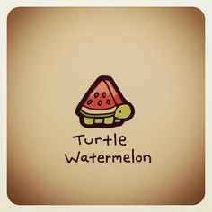 Turtle watermelon - Totally needs to exist one day. It already did in my dreams though! Cute Animal Drawings, Kawaii Drawings, Cute Drawings, Cute Turtles, Turtle Love, Cute Doodles, Kawaii Doodles, Cute Art, Amazing Art