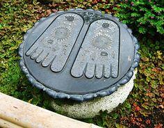 Buddhapada, Footprint of the Buddha in the garden of Hase-dera ~ Kamakura City, Kanagawa Prefecture Buddah Statue, Japanese Buddhism, Lotus Sutra, Kanagawa Prefecture, Japan Travel, Japan Trip, Spiritual Images, Kamakura, Buddhist Art
