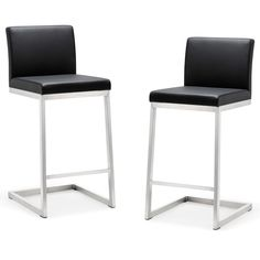 Parma Stainless Steel Eco-leather Counter Stool (Set of 2) (Parma Black Stainless Steel Counter Stool-Set of 2) (Polypropylene)