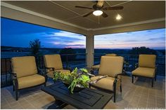 The second floor balcony of the Nottingham Model by Taylor Morrison offers sweeping views of the Texas Hill Country. The Sweetwater new home community in Austin, TX.