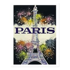 #Paris Eiffel Tower fireworks travel postcard - #travel #trip #journey #tour #voyage #vacationtrip #vaction #traveling #travelling #gifts #giftideas #idea