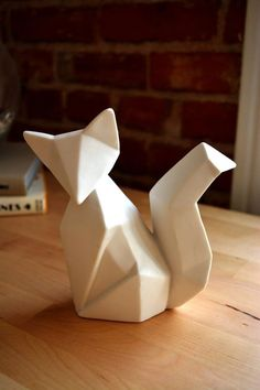 Ceramic Origami Fox by RainbowDrunkUnicorn on Etsy, $38.00: