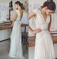 Discount Boho Wedding Dresses Lihi Hod 2017 Bohemian Bridal Gowns With Cap Sleeves And V Neck Pleated Skirt Elegant A Line Bridal Gowns Low Back Designer Wedding Gowns Gorgeous Wedding Dresses From Prettybridal_2017, $136.92| Dhgate.Com
