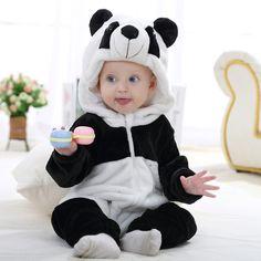 0-1-2 Years Old  Flannel Baby Boys Girls  Rabbit Romper Suit Spring  Hoodde Panda Cartoons Jumpsuit Newborn Babies Clothing