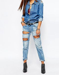 One Teaspoon | One Teaspoon Awesome Baggies Distressed Jeans in Blue at ASOS