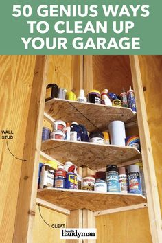 There are no shortage of ideas on how to clean up your garage. Here are 50 ways to clean up your garage that can help get you started down the path of cleaning up an eyesore. Storage Shed Organization, Garage Workshop Organization, Diy Garage Storage, Workshop Storage, Storage Ideas, Basement Storage Shelves, Workshop Ideas, Storage Room, Garage Shed