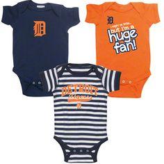 Detroit Tigers Infant Baby Rib Creeper 3-Pack