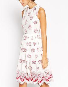 Image 3 ofASOS PETITE  Midi Dress in Broderie Anglaise