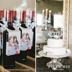Wine labels & cake topper for wedding by www.pistachiodesigns.co.za Wine Labels, Wedding Cake Toppers, Pistachio, Reception, Stationery, Drinks, Bottle, Rose, Design