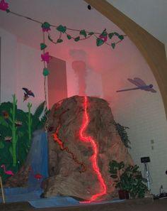 Volcano Island - I am thinking hula hoop,brown paper rocks and table cloths Dinosaur Birthday Party, Birthday Diy, Dinosaur Halloween, Tiki Party, Luau Party, Jungle Party, Jungle Theme, Vbs Themes, Party Themes
