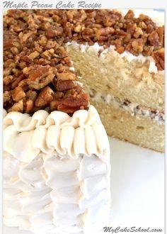 Pecan Cake with Maple Buttercream (A Scratch YUM! Maple Pecan Cake with Maple Buttercream! Delicious scratch recipe by ! Maple Pecan Cake with Maple Buttercream! Delicious scratch recipe by ! Maple Cake, Maple Pecan, Layer Cake Recipes, Frosting Recipes, Layer Cakes, Fun Desserts, Dessert Recipes, Pecan Recipes, Maple Buttercream