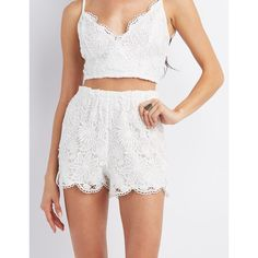Designer Clothes, Shoes & Bags for Women White Lace Shorts, Floral Shorts, Scalloped Lace, Junior Outfits, New Wardrobe, All About Fashion, Floral Lace, Charlotte Russe, Personal Style