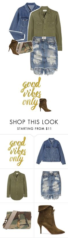 """""""nº36"""" by mariananogueirabr ❤ liked on Polyvore featuring Yves Saint Laurent, Abercrombie & Fitch, Aquazzura, Christmas, denim, military and HolidayWishList"""
