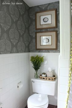 Stenciled wall with the Annapakshi Indian Damask Wall stencil from Royal Design Studio - DIY Bathroom Makeover styled by Driven by Decor