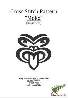 """Simple yet elegant cross stich pattern of a beautiful Maori style """"Moko"""" (small size) Maori Patterns, Embroidery Patterns, Cross Stitch Patterns, Knitting Patterns, Cross Stitch Embroidery, Hand Embroidery, Maori Designs, Carving Designs, Finger Puppets"""