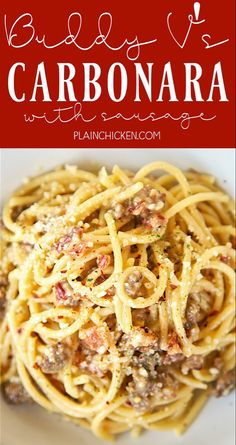 Bucatini Carbonara with Sausage - recipe from Buddy V's in Las Vegas. SO eas. - We love Pasta - Sausage Recipes Ground Italian Sausage Recipes, Sausage Recipes For Dinner, Ground Sausage, Italian Recipes, Pasta With Italian Sausage, Sausage Pasta Recipes, Ground Venison, Bacon Pasta, Pasta Carbonara