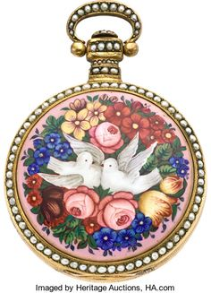Swiss Chinese Market Duplex with Enamel & Pearl Case, circa 1835 Case: 57 mm, full enameled back depicting doves in a brilliantly colored floral bed, split pearl decoration to the edges, bezel, pendant and bow, gilt center rim