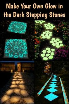 Light Up Your Garden Pathway by Making Glow in the Dark Stepping Stones! - Light Up Your Garden Pathway by Making Glow in the Dark Stepping Stones! Light Up Your Garden Pathway by Making Glow in the Dark Stepping Stones! Backyard Projects, Backyard Patio, Garden Projects, Backyard Landscaping, Backyard Ideas, Landscaping Ideas, Diy Projects, Back Yard Patio Ideas, Stone Backyard