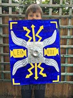 DIY Roman Shield - Red Ted Art - Make crafting with kids easy & fun Greek Shield, Roman Shield, Romans For Kids, The Romans, Romans Ks2, Cartoon Knight, Army Crafts, Rome Art, Carnival