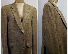 Vintage 80s Mens Halston Brown Houndstooth Sport Coat Size 44 L ...