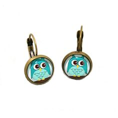 Blue Owl Earrings Bird Illustration Dangle by LaurasJewellery, £6.00