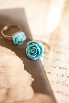 Teal Rose Flower Ring