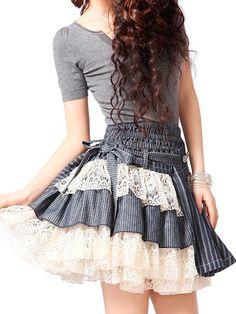lace striped denim skirt