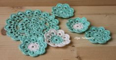 crocheted flowers and napkin