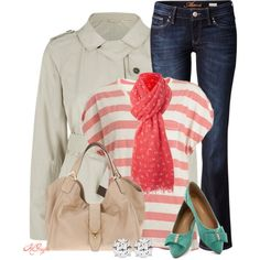 """Coral and Mint for a weekend in South Carolina"" by kginger on Polyvore"