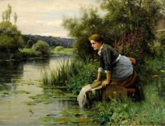 Women Washing Clothes ~ Daniel Ridgway Knight ~ (American: 1839-1924)