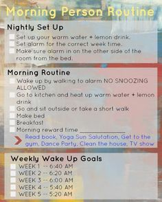 How to become a morning person in 10 easy steps morning routines, healthy morning routine Fitness Workouts, Fitness Motivation, Easy Fitness, Fitness Quotes, Free Fitness, Fitness Hacks, Fitness Pal, Fitness Routines, Fitness Logo