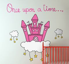 A fairy tale castle wall sticker to decorate your little girl's bedroom. #OnceUponATime #Decoration #Girls
