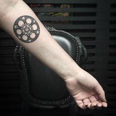 film reel tattoo #arm #tattoo #forearm // KRISTI WALLS, tattoo artist