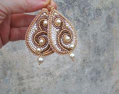 Beaded earrings. silver-lavender. golden- olive. golden- brown
