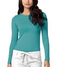 279e5bb6c0b ADAR UNIFORMS Adar Womens Comfort Long Sleeve T-Shirt Underscrub Tee 65%  Polyester 35