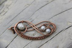 Shawl pin Copper and fresh water pearls wire by Keepandcherish, $28.00