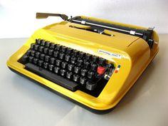 Vintage Portable Typewriter Quelle Privileg by Lunartics Working Typewriter, Portable Typewriter, Typewriters, 30 Years Old, Vintage Yellow, Plastic Case, Etsy Vintage, German
