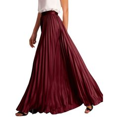 ROMWE Women's Pleated Maxi Skirt - Medium - Burgundy at Amazon Women's... ($28) ❤ liked on Polyvore featuring skirts, long pleated skirt, pleated maxi skirt, red maxi skirt, floor length skirts and long skirts