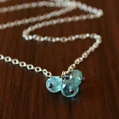 Aqua Apatite Choker Gemstone Necklace Blue Stone by livjewellery