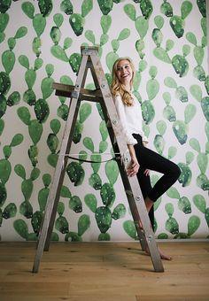 Watercolor Cactus Large Wall Mural Watercolor by anewalldecor // @katdailyomeara